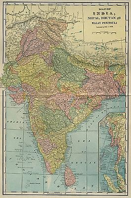 INDIA Map: Authentic 1899 with Cities; Towns; Railroads, Topography