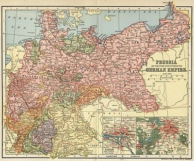German Empire & Prussia Map: Authentic 1902 (Dated) Berlin & Hamburg Insets