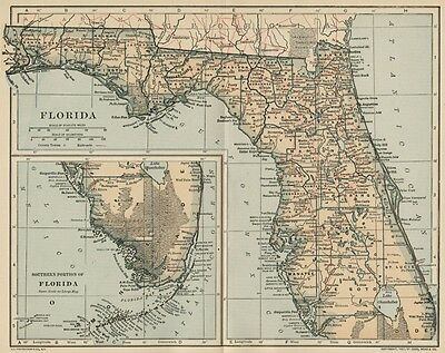 FLORIDA Map: Authentic 1907 (dated) with Counties, Towns, Topography, Railroads