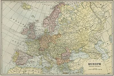 EUROPE Continent Map: Authentic 1899, Interesting Turn of Century Borders