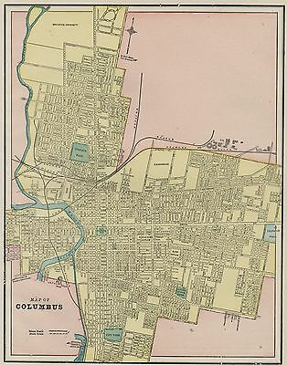 Columbus, Ohio Street Map: Authentic 1887 with Stations & Landmarks, RRs