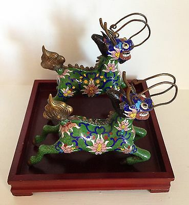 """Pair 7"""" Republic Chinese Cloisonne Statues Figures ~Qilin Kylin Dragons & Stand~"""
