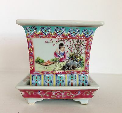 Antique Qing Chinese Famille Rose Porcelain Jardiniere Pot Planter & Saucer