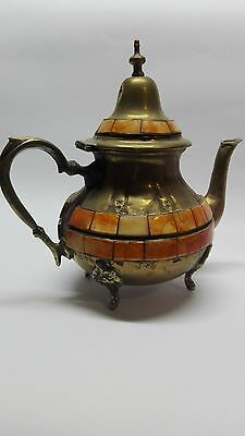 Vintage moroccan brass tea pot 75 years Old-Hand-made Inlaid with camel bone