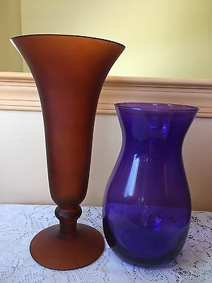 Lot Of 2 Colored Glass Vases Purple 9 And Dark Amber 12
