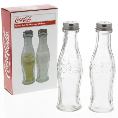 "Coca-Cola Contour Bottle Salt and Pepper Shakers 5.75"" Clear Glass S & P Set"