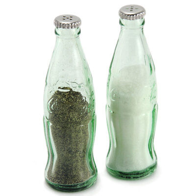 "Coca-Cola Contour Bottle Salt and Pepper Shakers 4.25"" Green Glass Mini S & P"