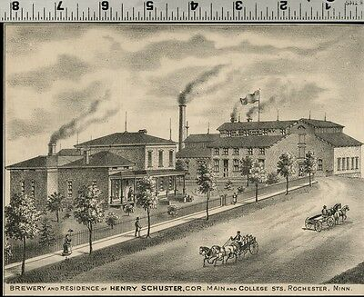 Brewery of Henry Schuster in Rochester, Minnesota: Authentic 1874 View