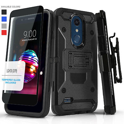 For [Lg K30] Phone Case [Tank Series] Cover & Holster Clip +Black Tempered Glass