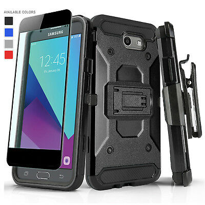 For [Samsung Galaxy J7 Sky Pro] Tank Cover Case & Holster +Black Tempered Glass
