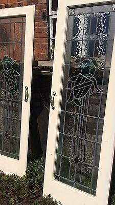 Pair Matching Architectural Coloured Leaded Stained Glass Original Doors In Pine