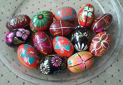 Lot 13 Hand Painted Colorful Wood Wooden Easter Eggs Decorative Floral Folk Art
