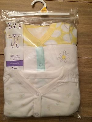 New! Baby Girl Sleepsuits 18-24 Months - 3 Pack