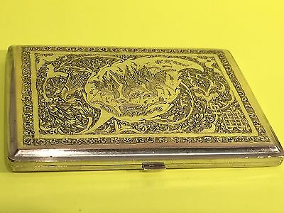 VINTAGE ANTIQUE HAND MADE SOLID SILVER 84 PERSIAN CIGARETTE BOX SIGN 141.7 g
