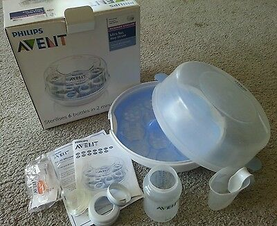 Avent microwave steriliser, used but in original packaging, with 1 bottle