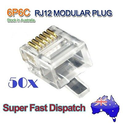 50x RJ12 Modular Head Plug ADSL Telephone Network Connector 6p6c High Quality