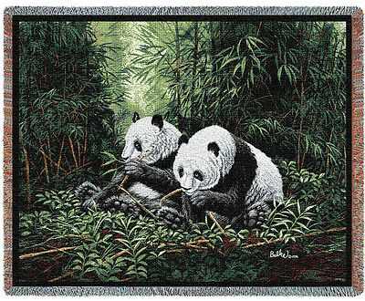 """NWT PANDAS in forest by artist Don Balke TAPESTRY THROW AFGHAN BLANKET 70"""" x 53"""""""
