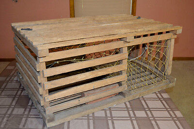 Vintage Large Wooden Maine Lobster Trap Coffee Table Nautical Beach Decor