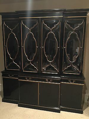 KARGES Model #620 Chippendale Breakfront - Solid Black With Bubble Glass