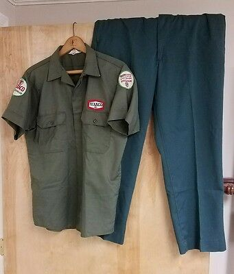 1950's Texaco Gas Station Work Uniform w/Patches. Summer Green Shirt & Pants