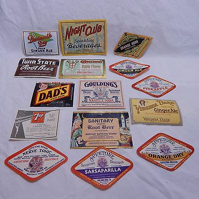 Lot Of 14 Original Soda Pop Labels Dad's,7Up,sanitary,grulding's,and More