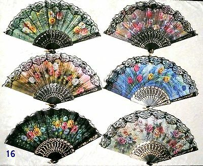 Lot of 6 Black Lace Rim Floral Asian Chinese Japan Dance Hand held Folding Fan!