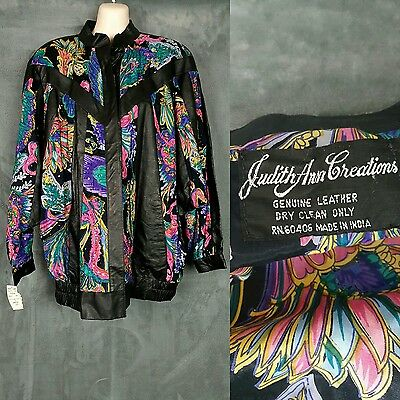 JUDITH ANN CREATIONS NWT Vtg. Women's Size M Leather Beaded Floral Jacket $550
