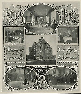 Savery Hotel: 4th & Locust in Des Moines, Iowa: Authentic 1904 Advertisement