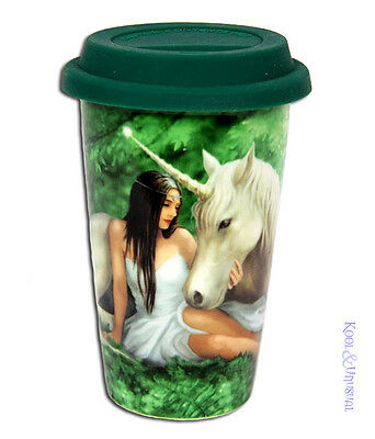 "Anne Stokes Ceramic Travel Mug Keep Cup with Lid: ""Pure Heart"" Unicorn"