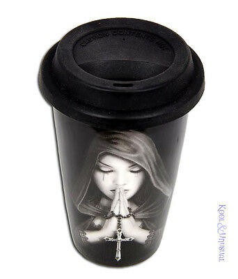 "Anne Stokes Ceramic Travel Mug Keep Cup with Lid: ""Gothic Prayer"" Rosary"