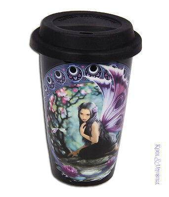 """Anne Stokes Ceramic Travel Mug Keep Cup with Lid: """"Naiad"""" Nymph Fairy"""