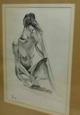Original Large Nude Drawing in Crayon signed by Artist Kip - glazed and framed