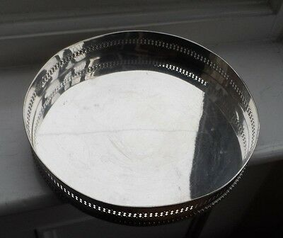 Vintage Gallery Silver Plated Round Drinks Tray  c-1960's  No Reserve