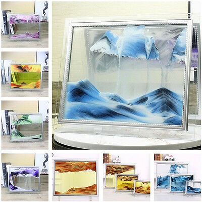 Framed Moving Sand Time Glass Picture Home Office Desk Decor Craft Gift 6 Colors