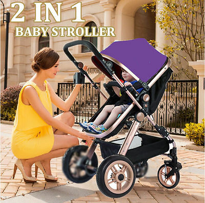 3 In 1 Baby Toddler Travel Pram Stroller Jogger Aluminium With Bassinet Pink