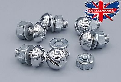 Chrome Plated Dome Front Mudguard Nut  Bolt & Washer For Royal Enfield