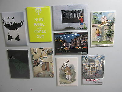 Fridge Magnet Mixed set x 9 Art Banksy Alice in Wonderland etc