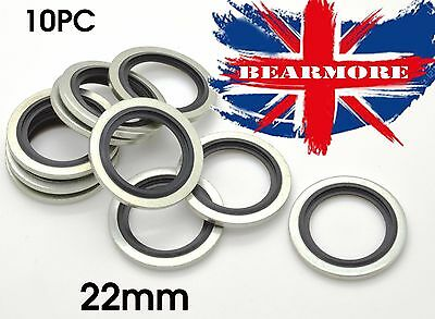 22mm METRIC Bonded Dowty Seal Self Centering Hydraulic Oil Seal Washer 10 pc