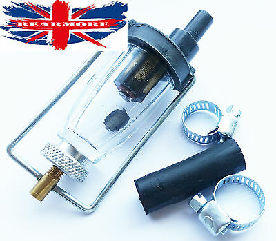 BRITISH MOTORBIKE ROYAL ENFIELD GLASS Fuel Filter free 2 Clip & 6mm Rubber hose