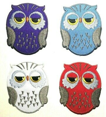 OWL PATCH, wise, wildlife, nature, bird; 4 colours; SEW-ON/IRON-ON *embroidered*