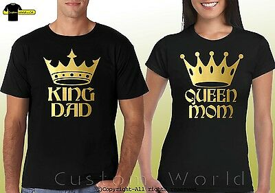 Couple Shirts King Dad Queen Mom Matching  T-Shirts His Hers Couple Tee (Gold)