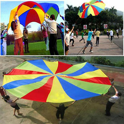 8-Handle 2M Kids Play Colorful Parachute Outdoor Family Game Exercise Sport Toy