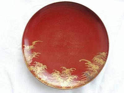 Antique Japanese lacquer sake cup with waves 1900-15 handpainted #3855D