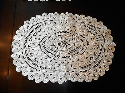 Set of 4 Vintage White Cotton Lace Oval Placemats or Doilies Portugal Very Fine
