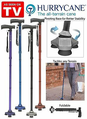 HurryCane Freedom All-Terrain Pivoting Base Folding Walking Cane 4 Colors NEW