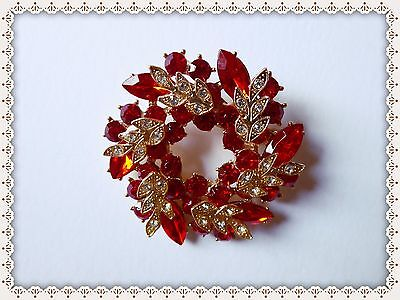 Beautiful Rhinestone Brooch,Flower,Leaves,Gift Idea,Sparkly,Bling,Mother/Gran