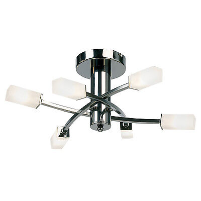 Endon Havana ceiling light 6x 25W Black chrome effect plate & acid etched glass