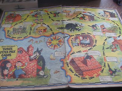 Vintage Rare 1933 Walt Disney's Three Little Pigs game board only Wolf Fairy Tal