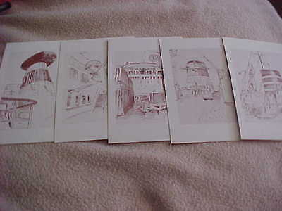 Passenger Ship series of ten Post Card Sketches by Frank O. Braynard