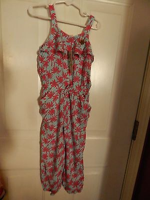 Juicy Couture Little toddler girls' pink/blue/palm trees romper, SZ 4T